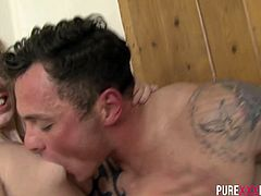 Young blond housewife takes big dick in her mouth and pussy