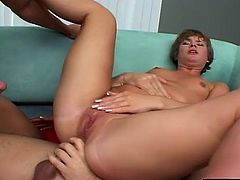 Short-haired cutie moans during the long-awaited double penetration