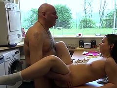 Young babe just turned 18years old and wants to fuck the old cook. Sucking his old dick in a wild blowjob got to doggy style, missionary fucking on the kitchen table. Old young ride ended with cum in mouth