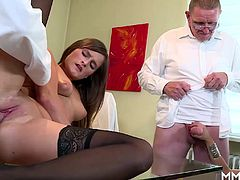 These two hotties are pleasuring themselves and get a pussy stuck in their pussy. They call experient older doctors to solve the issue.