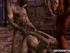 Mouth watering 3D cartoon zombie vixen sucking on a cock while getting fucked hard outdoors