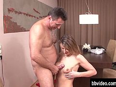 German hottie gets tits cummed