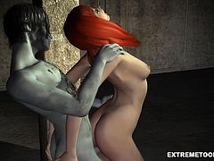 Stunning 3D cartoon redhead honey fully enjoying getting choked while getting fucked hard by a horny zombie