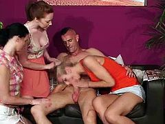 Movie showing a classying British lady photographer and her friends checking out a CFNM amateur