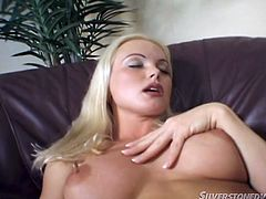 This hot milf clearly masters the art of seduction! Slutty Silvia Saint loves to touch herself and the camera catches some crystal clear close-ups of her appetizing cunt, while she's fingering it with sensual motions. Don't miss the inciting moments.