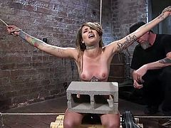Missy Minks is often a very naught girl. She is a party girl and likes to break rules, because she really enjoys getting punished for her deeds. Nothing gets her pussy wet, as the tight ropes wrapped around her body and her neck, while her master uses her as a personal sex slave!