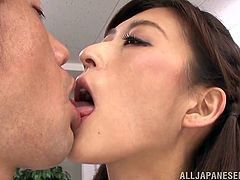 She was tired of all her work and all she really wanted to do, was fuck her hot coworker. The nasty slut licked her man's nipples and kissed him deeply in the middle of the office. He is rock hard as she teases his cock.