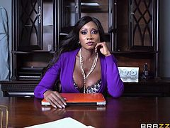My boss, Diamond Jack, busty ebony mature, called me in for a serious conversation. I was late, so when I entered the room, I found her there, masturbating. I immediately got a boner. Seeing my huge erection, Diamond changed her temper justice with mercy and started sucking my penis right in the office...
