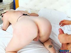 Huge titted blondie shemale asshole slammed on the bed