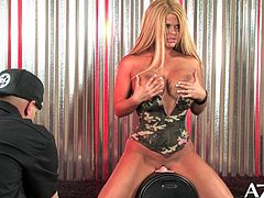 Sophia Rossi riding on the Sybian