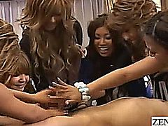 Subtitled CFNM Japanese gyaru group handjob party