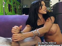 Jenna Presley got some big fake titties and a sopping wet mouth ready to spit on a fans cock and jack it off! Watch her hottie pornstar friends hop in to help.