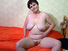 Two od and fat BBW mature grannies showing off their big bodies in solo masturbation compilation