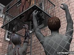 Beautiful 3D cartoon babe sucks and tugs a cock before getting her wet pussy fucked on a fire escape