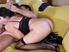 Slutty Valentina touches sensually her lovely cunt, in front of her partner. With legs widely spread, she softly whispers of pleasure, when he's inside her. Click to watch this hot brunette babe, sucking dick down to the balls!