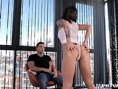 Nikita Bellucci comes home to find her man looking at big butts on the internet, she takes a shower and then decides to teach him a lesson by giving him a live lap dance. She gets to her knees and puts her pouty lips to work by opening up her throat and taking a sloppy face fucking.
