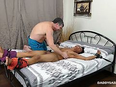 Mikal is at his desk watching a Daddys Asians gay porn scene where Daddy Mike is tickling a cute twink. Mikal wishes he could be the twink in the video. Being dominated by Daddy Mike is his dream. Then we go inside his imagination to see exactly what he would want to be doing as the submissive bottom twink for Daddy.