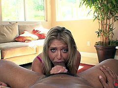 Whore Jaelyn Fox gives her head to well endowed dude with monster hose