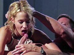 Curly blonde Jessica Drake gives splendid blowjob to one horny dude