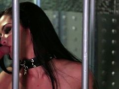 Juggy and sexy prisoner chick Katrina Jade gives her head to a duo of guardians