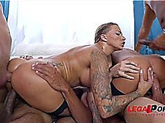 Foxy doxies Katrin Tequila &threatening Juelz Ventura extraordinary 4on2 fuckfest with double penetr