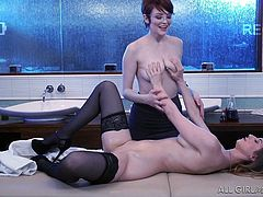 Bree's examination of Stella started out professional, but it got personal in a big hurry. After rubbing her a little bit, it turned into a massage and went quickly into some hot lesbian sex! Stella gets rubbed after getting oiled, and more is soon to cum.