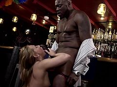 Carter was so pleased with the show of this ebony stallion at the bar, that directly after the program ended, she approached him and, as a sign of admiration, offered him a blowjob. Watch Carter sucking big black dick with passion. Sure, a bit later, she receives his black monster from behind... Enjoy impetuous sex action!