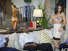 It was a boring day, until I called my black friends and had a gangbang with them. When they came, they were surprised to see me in lingerie, but they understood my desires, when I pulled down my bra. It was delightful to suck big black dick, when I already had two cocks in my holes...