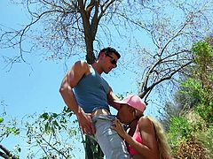 First, she teased me with her round bubble butt and big mashy boobs. She even allowed me to touch them. Then, being already horny, she sucked my long cock and licked my swollen balls, hoping to get my hard rod in her wet holes, as a reward. Standing under the tree on a sunny meadow, she rubbed her ass on my dick and...