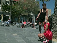The mistress humilated and punished this busty lady in public and the brunette milf, left with no option, but to obey all the commands. She was on her knees throughout the session and offered blowjob to strangers in public. The submissive babe thoroughly enjoyed this session and she loved it.