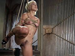 Eliza was chosen for The Training of O. She was tied with ropes, lifting her one leg in air for deeper penetration. Her breasts were tied and Xander was pinching her nipples, to increase the pain. He slapped her face, while fucking her ass hole from behind. He stimulated her cunt with vibrator, lifted both legs and..