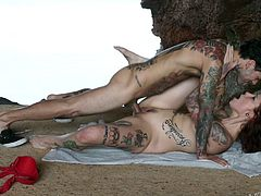 Slutty Silvia enjoys not only the romantic landscape, but also the passionate attention her partner offers her. This naked tattooed redhead with small tits is eager to spread legs and ride cock, abandoning completely to her wild fantasies!