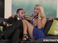 Private Milfs presents the yummy Mummy Lana Vegas, her huge tits and blonde hair make her the fuck of a life time! This housewife is tired of just her husband's hard cock, she calls round the gigolo Potro Bilbao to give her pussy and ass a good seeing to.
