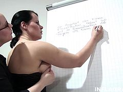 Filthy fisting mature babes are having a teacher student conflict. The teacher has bigger tits so she gets to fist the student and spank her butt cheeks till they sting.