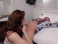 Sexy Anya Olsen hid in the wardrobe to surprise her lover. As he is looking inside, this hot slim babe makes her appearance and offers him a welcome blowjob. Click to enjoy the inciting details and have fun.