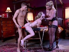Marie gifted this submissive chick to her husband, Xander Corus and he dominated her through out the session. In this hardcore threesome BDSM encounter, you can enjoy all the things you are looking for: rope bondage, face slapping, breath play, whipping, electro torture and much more.