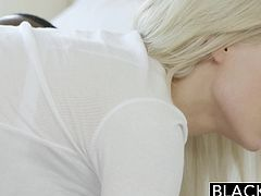 Sexy blonde Elsa, always wanted to try a big black cock. Her dream came true, when she got some time alone with her best friends boyfriend. She instantly jumped on that black dick and sucked it like a true horny gal. She had no problem taking every inch of that fat throbbing black meat. Truly admirable!