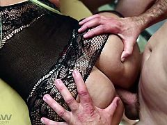A group of guys took turns to enter her from behind, while she was busy in sucking cocks. Her lusty face and huge round ass make a perfect combination to fuck and everyone in the group enjoyed this ladyboy gang bang session very much. Finally, the session ended with a messy white facial.