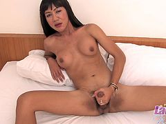 No one is there in the house to satisfy the dirty desires of this Asian ladyboy. She decided to satisfy herself, by wanking her thick rock hard dick and the solo masturbation session ended, only after she released the sticky white load.