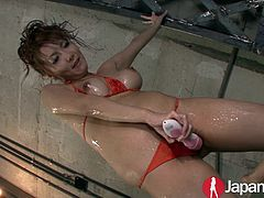 Sexy busty Japanese Milf is horny to cum and makes a waterfall out of her squirting hairy pussy and still manages to take a bukkake shower to top it off.