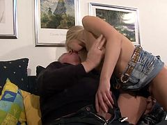 Hot blonde chick takes on this old cock and makes him cum in her mouth while he gets to play with her pussy and try out some new tricks.