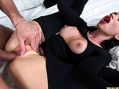 Sasha Rose has fire in her eyes as she milks cum loaded tool of her guy
