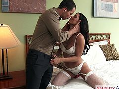 Alexa Tomas was not satisfied with her husband in bed. She decided to cheat on her husband and seduced the neighbour guy, who always boasts of his muscular body. The horny Latina undressed the handsome guy and started sucking his big cock.