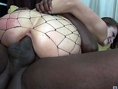 Slutty chick in fishnet stockings Nikki Nievez has crazy interracial sex
