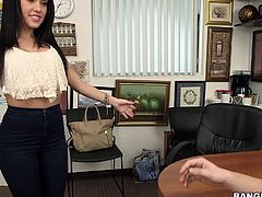I was failed in interview, but he promised to select me, if I do something dirty for him. Well, I just removed my bra, and sat on his erected dick. He pressed my big butts, inserted fingers in my pussy, and licked it from behind. I laid down on table, and took his big cock in pussy. Then he fucked my mouth.