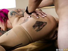 Redhead Anna Bell Peaks with gigantic boobs gets her mouth fucked hard and deep by Van Wylde