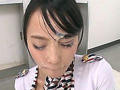 Saucy Oriental model Ai sucks on numerous ramrods and has her face creamed