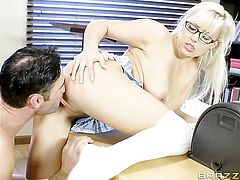 Charles Dera makes Blonde seductress Kylie Page gag on his meaty tool