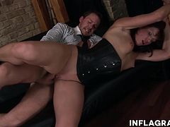 The boss is horny to put on a show and strip for him while she whips her fine ass and takes a pounding.