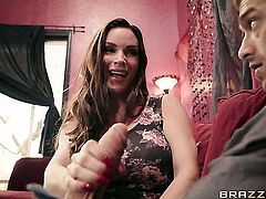 Brunette Diamond Foxxx blows the cum out of Xander Corvuss dick